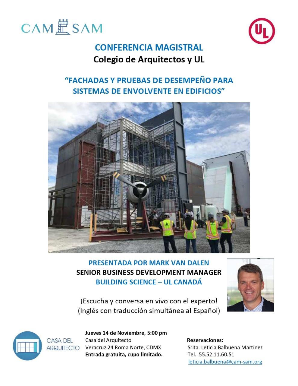 Conferencia Fachada y pruebas de desempeño para sistemas de envolvente de edificios