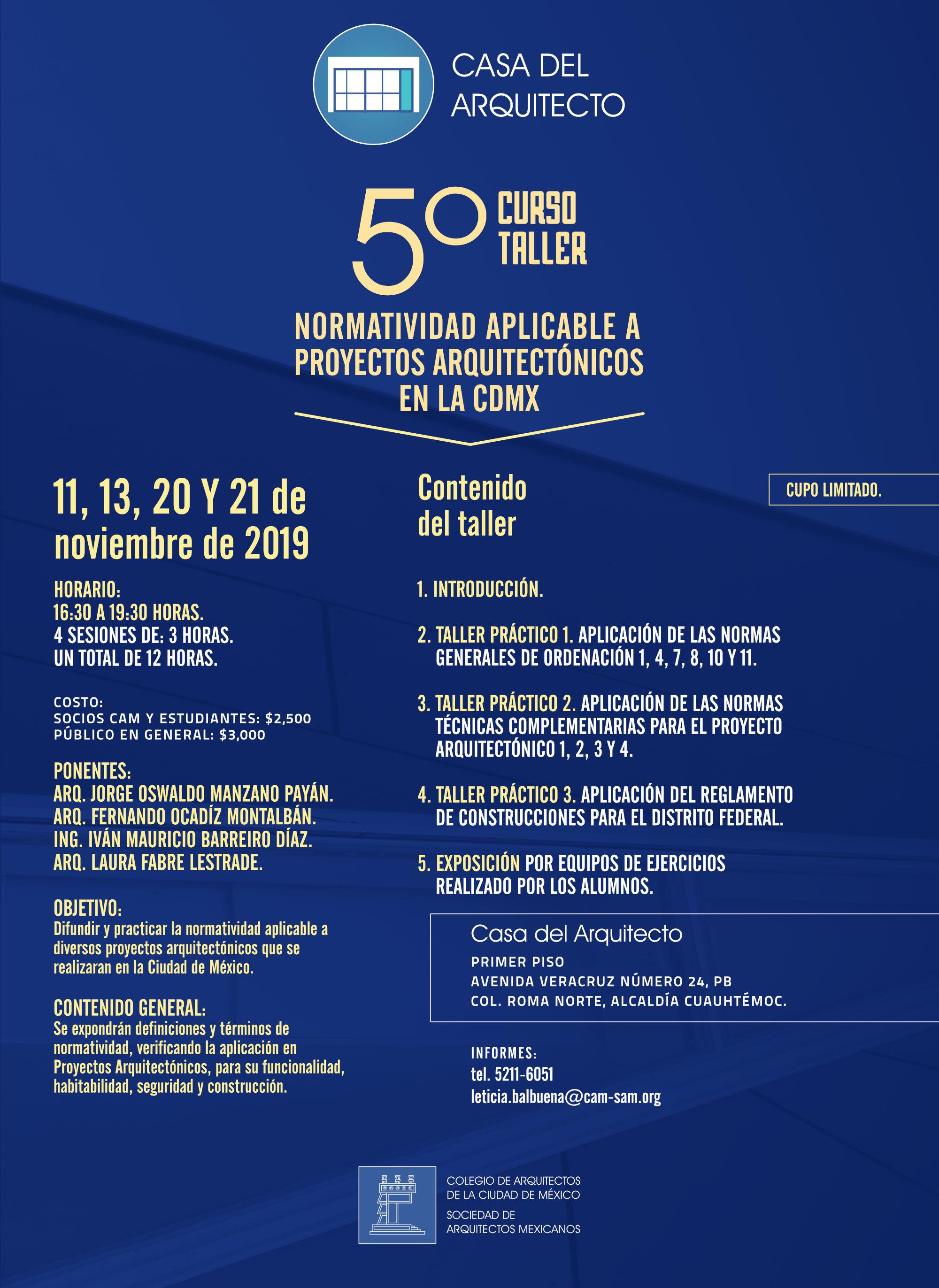 5º Curso Taller Normatividad aplicable a proyectos arquitectónicos en la CDMX